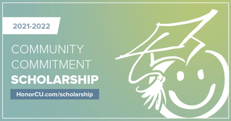 image with white smiley face on green and teal background with text promoting the 2021 community commitment scholarship program