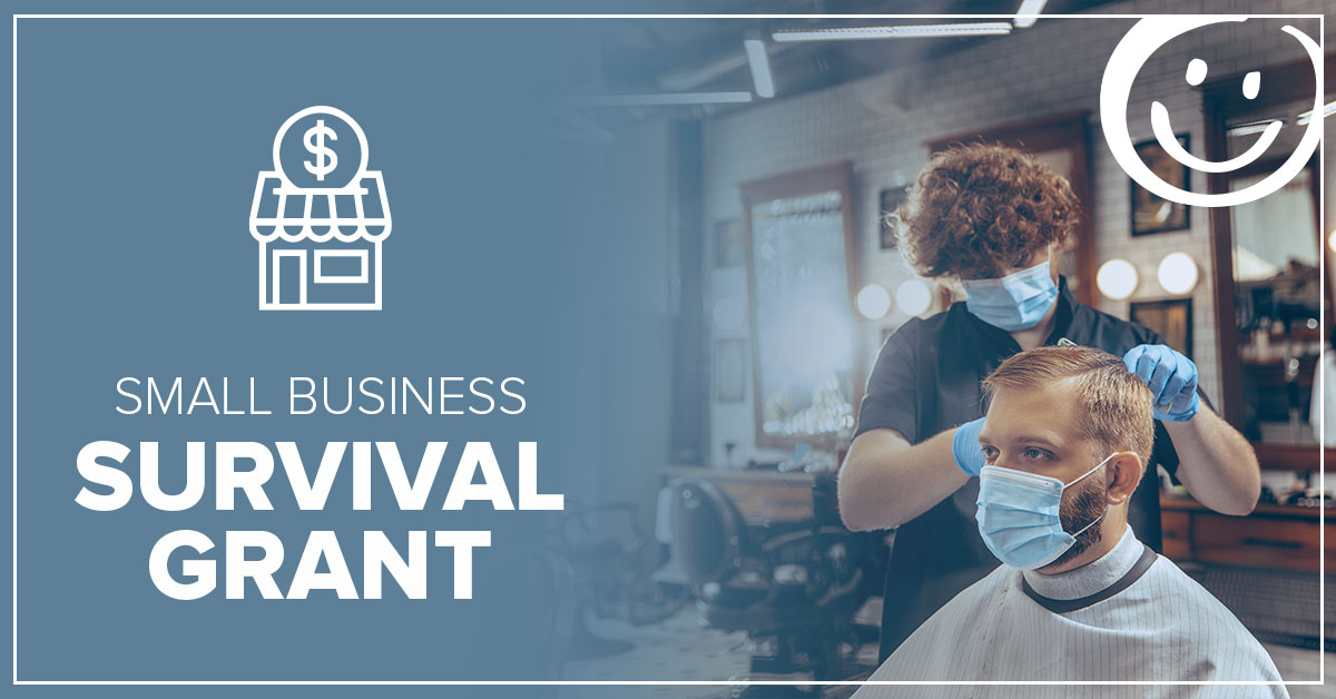 image of a person cutting a man's hair in a barbershop with text on a blue background that reads small business survival grant