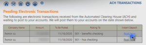 screenshot image of honor credit union online banking showing how to request an instant deposit of an ach transaction