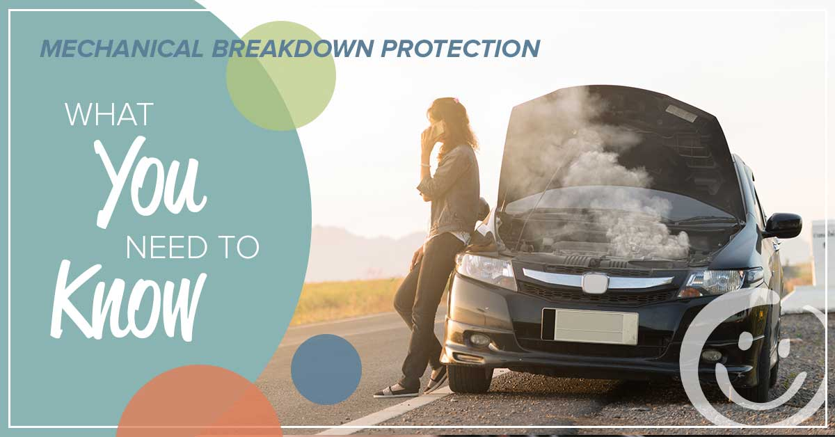 image of a woman talking on a mobile phone while leaning up against a car that has its hood up and the engine smoking; text on the image that reads what you need to know about mechanical breakdown protection