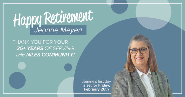 image of retiring niles member center manager jeanne meyer on a blue background with text on background that reads happy retirement
