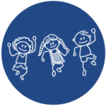 image of three stick figure children jumping on a blue background