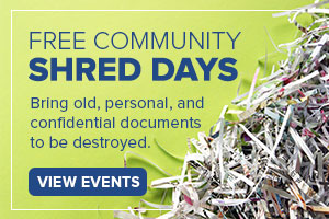image of shredded paper on a green background with text promoting free community shred day schedule