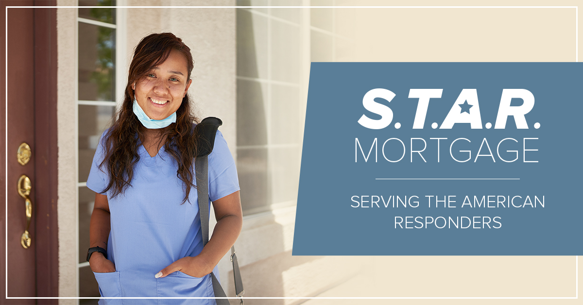 photo of an african american female nurse standing in front of a house with text on the image promoting honor credit union's new S.T.A.R. Mortgage