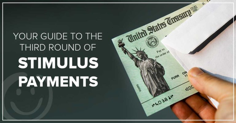 image with a dark green background with a hand holding a federal treasury check and white text on the background that reads your guide to the third round of stimulus payments