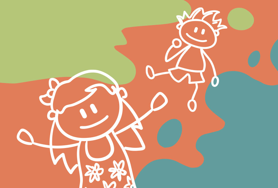 image of two stick figure children playing on a background of orange, green, and teal color splatters