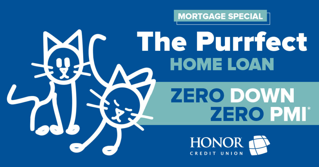 image of stick figure cats on a blue background with text on the image promoting a zero down payment mortgage promotion from honor credit union