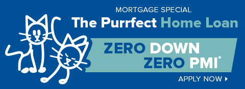 image of stick figure cats on a blue background with text that promotes a zero down payment mortgage loan special offer
