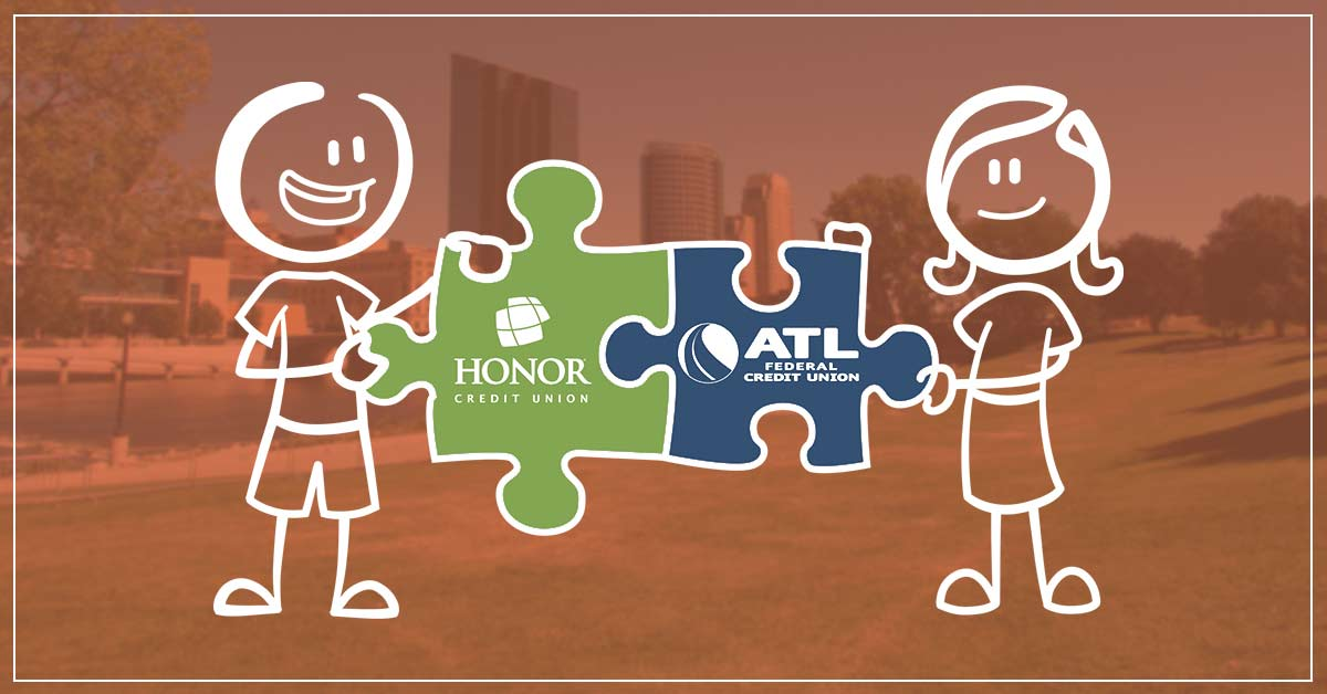 image featuring two stick figures holding puzzle pieces that feature the honor credit union logo and the atl federal credit union logo on a background photo of grand rapids, michigan with an orange color overlay