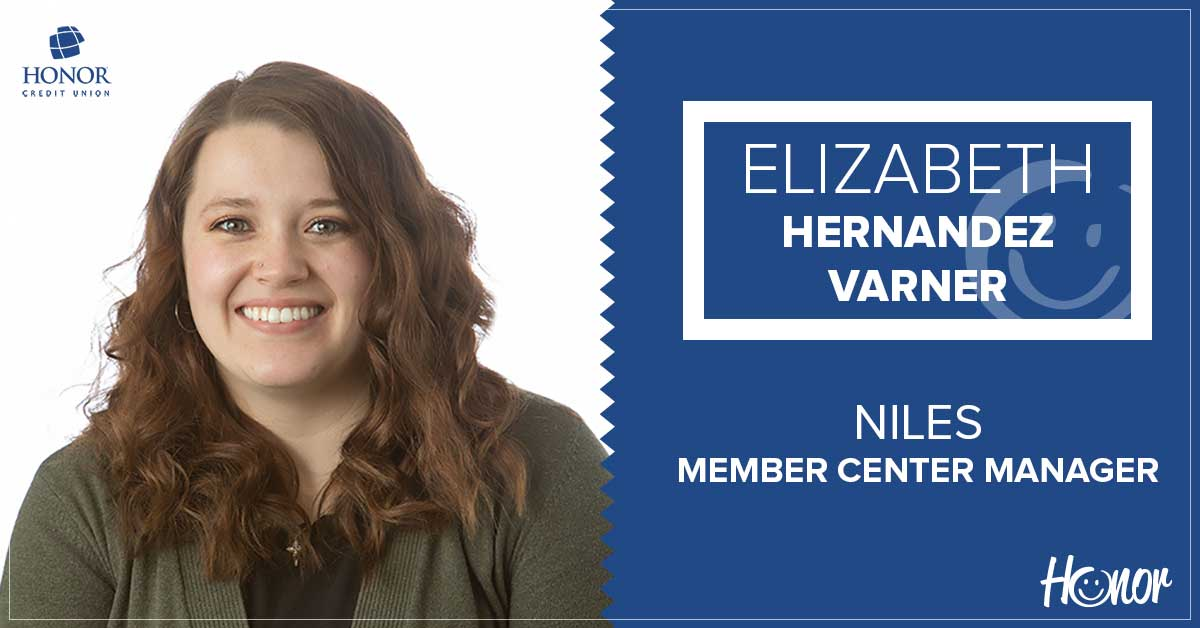image featuring a photo of niles member center manager elizabeth hernandez varner with text on a blue background introducing her as the new manager