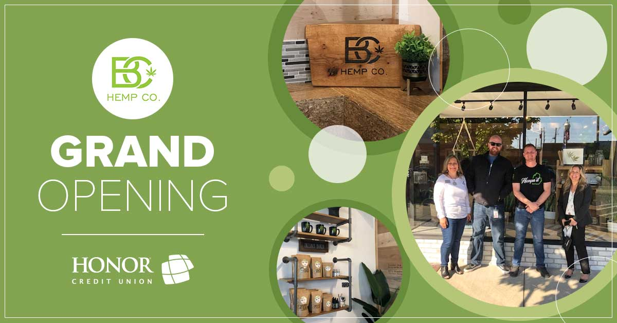image featuring photos of honor team members, inside the BC Hemp store, and text on a green background promoting the grand opening of BC Hemp Co.