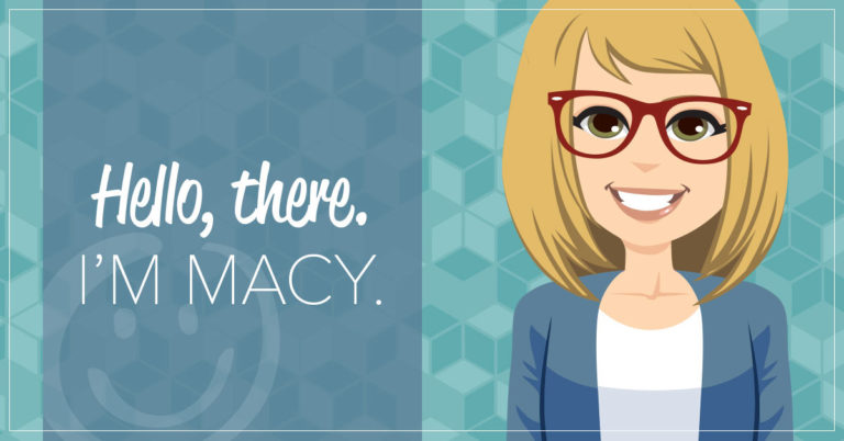 image of a bitmoji human character with blonde hair wearing red glasses on a teal background with text that reads hello I'm Macy, and promoting honor credit union's new AI chatbot