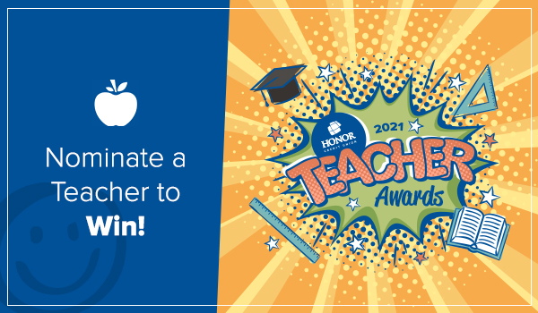 image featuring text promoting the 2021 teacher awards