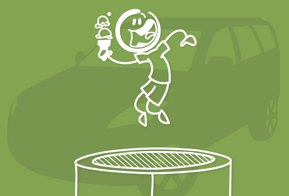 stick figure jumping on trampoline while holding ice cream cone