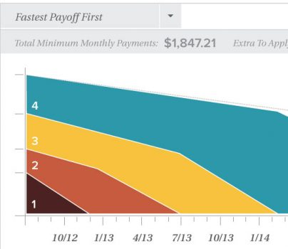 image of a sample chart used in the moneydesktop app to show debt management