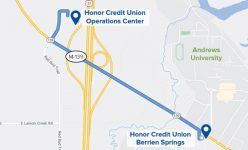 image of a map showing how to get to honor's operations center to use the temporary berrien springs member center