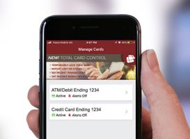 screenshot of a mobile phone showing the card control feature in the honor credit union mobile app