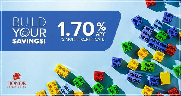image of lego building blocks on a blue background with information about honor credit union's certificate of deposit special rate