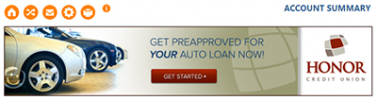click the pre=approval image in online banking to get pre-approved for an auto loan
