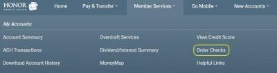 screenshot of online banking menu
